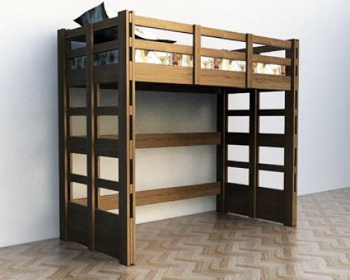 Кровать чердак из дерева дуба - «Кантри»