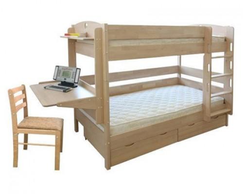 Кровать чердак из дерева ясеня – «Соло»
