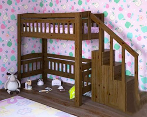 Кровать чердак из дуба – «Принц»