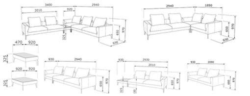 Габаритные размеры модульного дивана