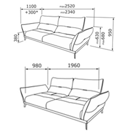 Габаритные размеры дивана с подлокотниками