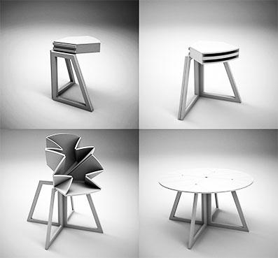 Стильный стол с механизмом трансформации